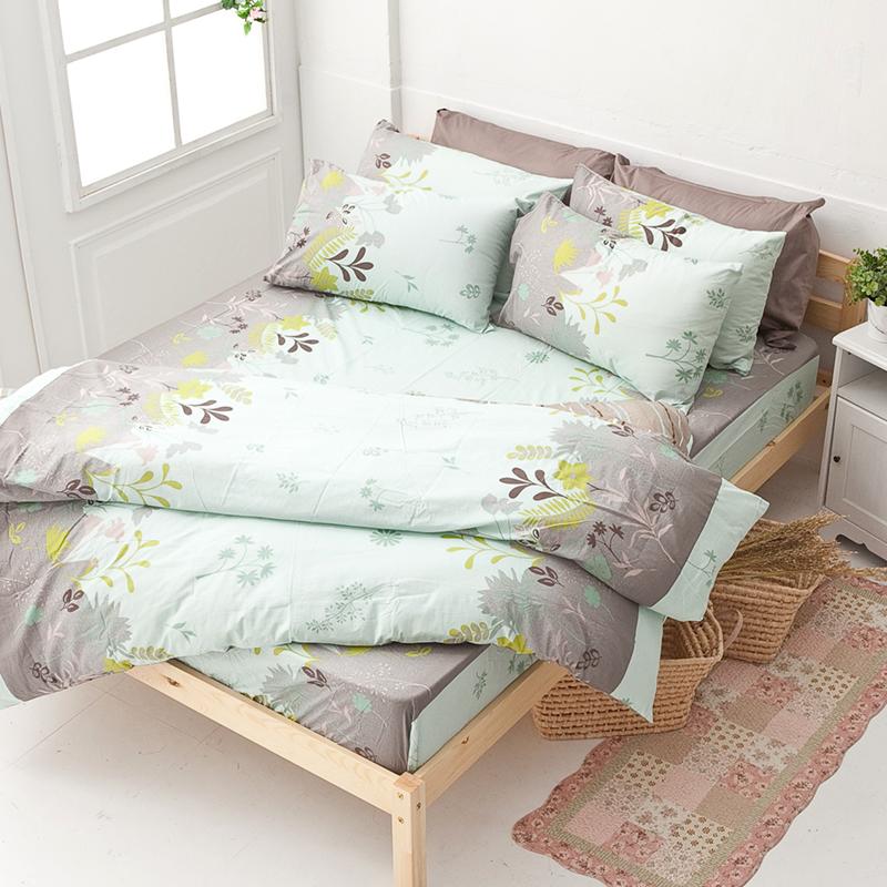 床包/單人【香草綠】100%純棉單人床包含一件枕套