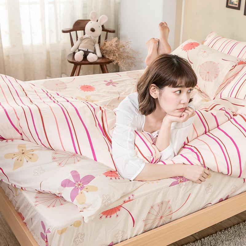 床包/單人【輕盈粉】100%純棉單人床包含一件枕套