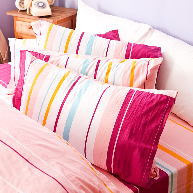 床包/單人【繽紛特調粉】100%純棉單人床包含一件枕套