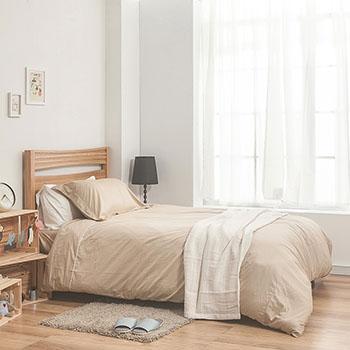 床包/單人【簡單生活系列-米】100%精梳棉單人床包含一件枕套