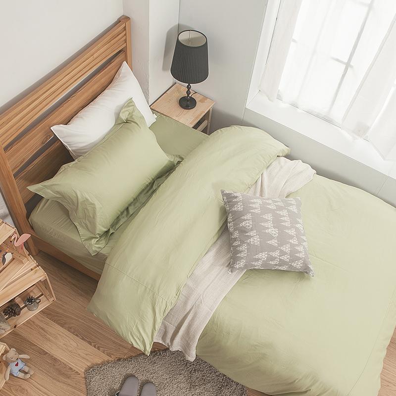 床包/單人【簡單生活系列-果綠】100%精梳棉單人床包含一件枕套