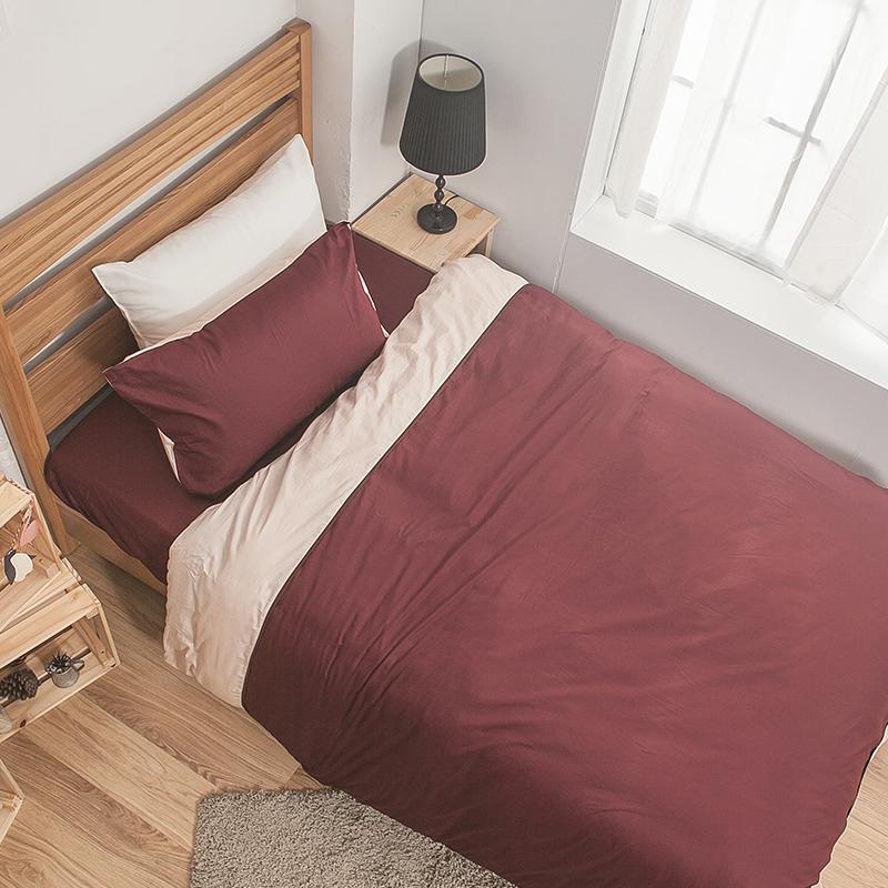 床包/單人【簡單生活系列-棗粉】100%精梳棉單人床包含一件枕套