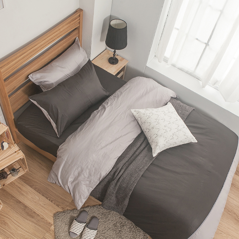 床包/單人【簡單生活系列-雙灰】100%精梳棉單人床包含一件枕套