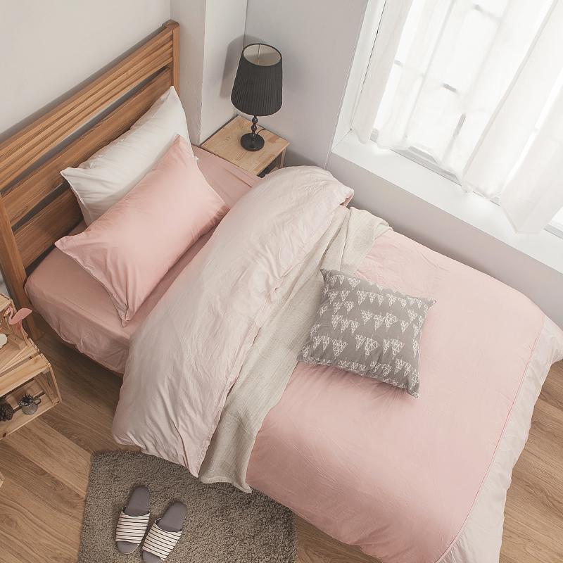 床包/單人【簡單生活系列-雙粉】100%精梳棉單人床包含一件枕套