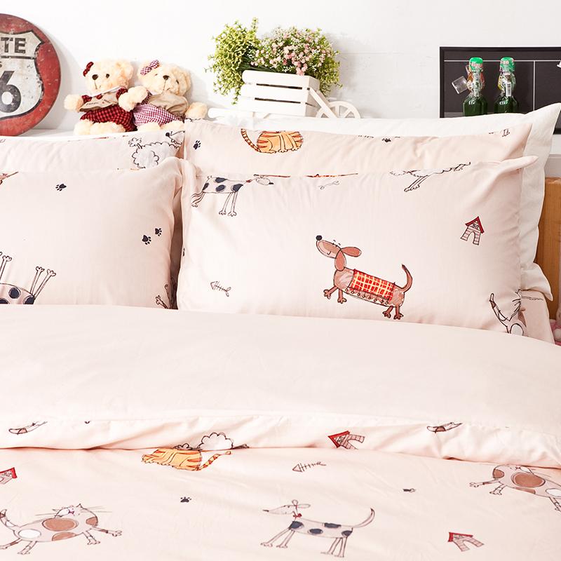 床包/單人【可愛家族】100%精梳棉單人床包含一件枕套