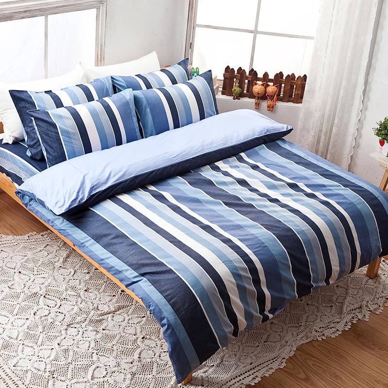 床包/單人【簡潔休閒藍】100%精梳棉單人床包含一件枕套