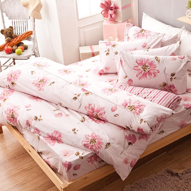 床包/單人【純愛花語】100%精梳棉單人床包含一件枕套