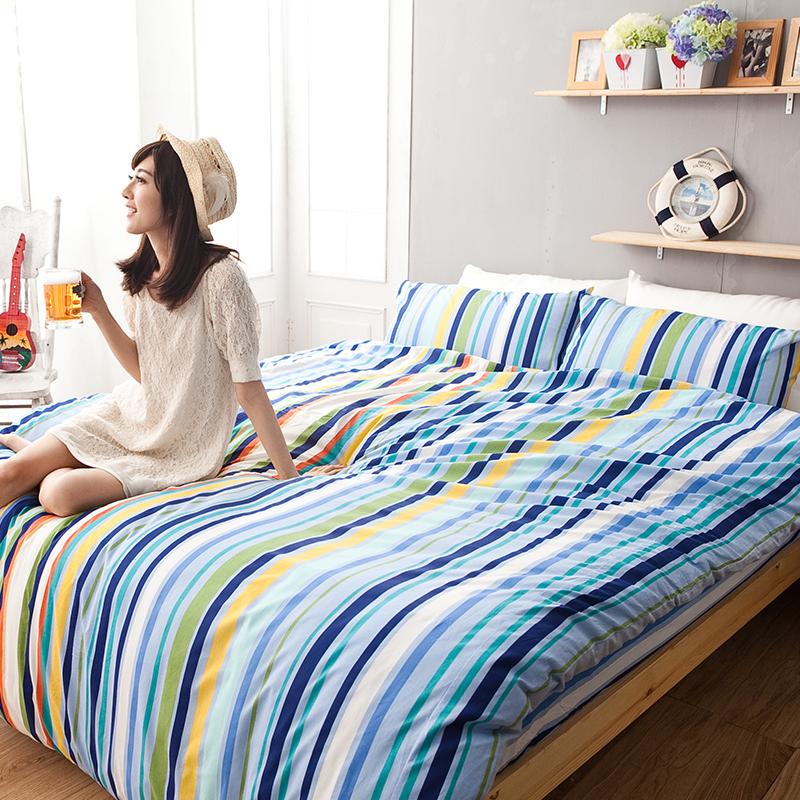 床包/單人【海洋特調】100%純棉單人床包含一件枕套