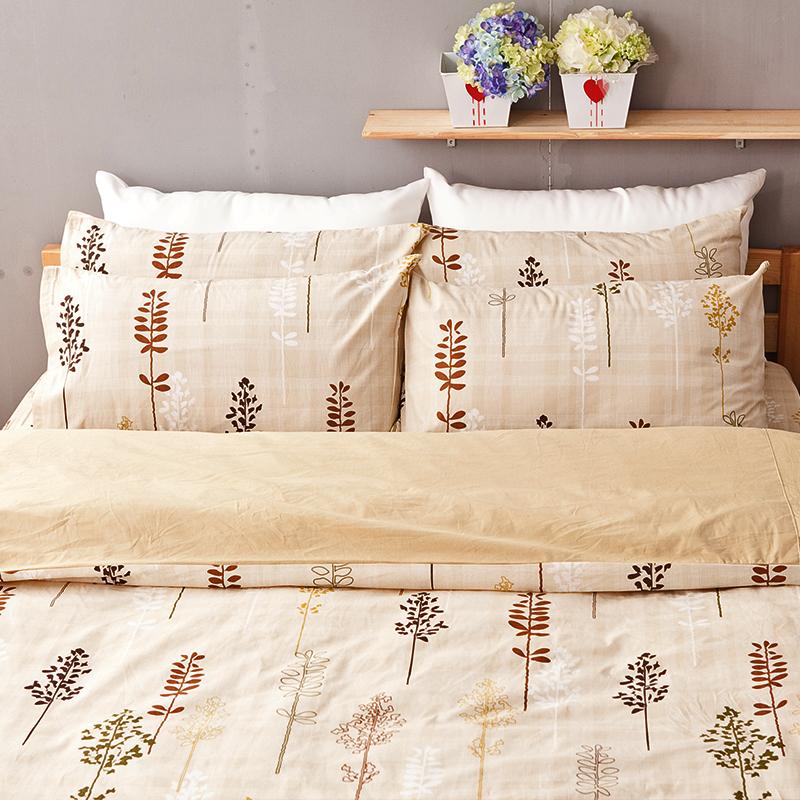 床包/單人【夏日之森】100%純棉單人床包含一件枕套