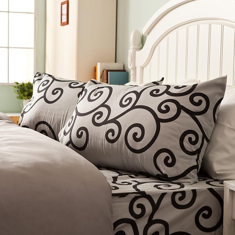 床包/單人【里昂莊園黑】水蜜桃絲單人床包含一件枕套
