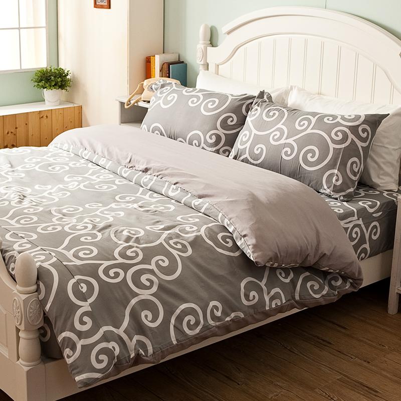 床包/單人【里昂莊園灰】水蜜桃絲單人床包含一件枕套