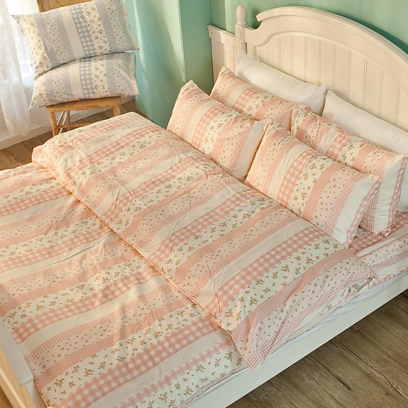 床包/單人【漫步花園粉】雪紡絲磨毛單人床包含一件枕套