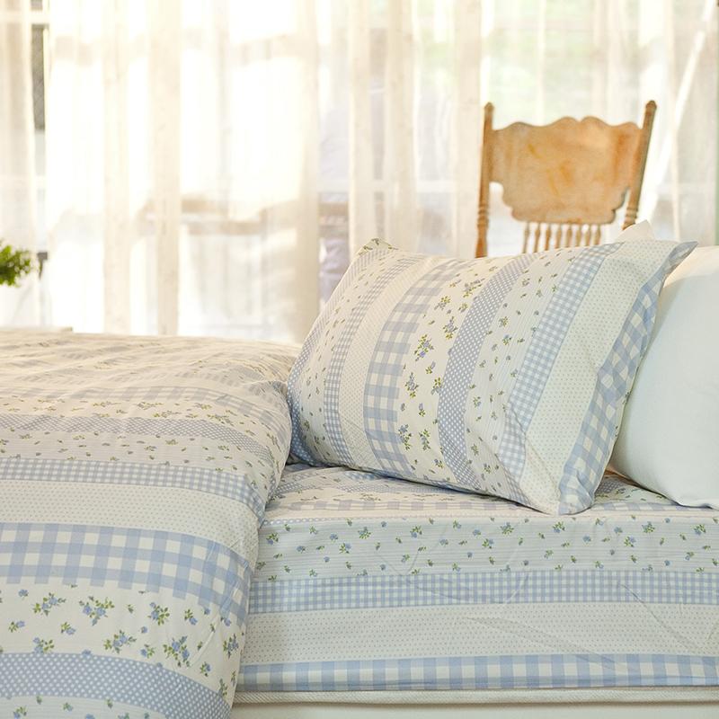床包/單人【漫步花園藍】雪紡絲磨毛單人床包含一件枕套