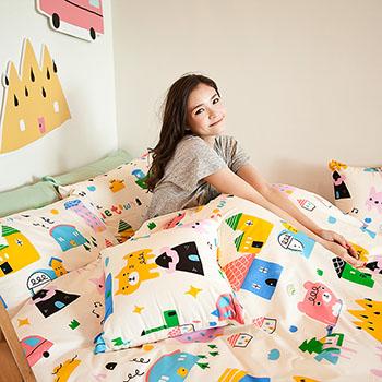 床包/單人【Sweethome甜蜜的家】雪紡絲磨毛單人床包含一件枕套喂,wei聯名款