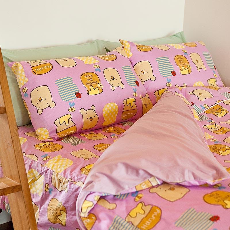 床包/單人【維尼哈妮】100%精梳棉單人床包含一件枕套