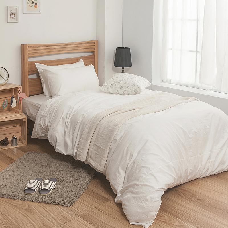 床包/單人【簡單生活系列-白】100%精梳棉單人床包含一件枕套