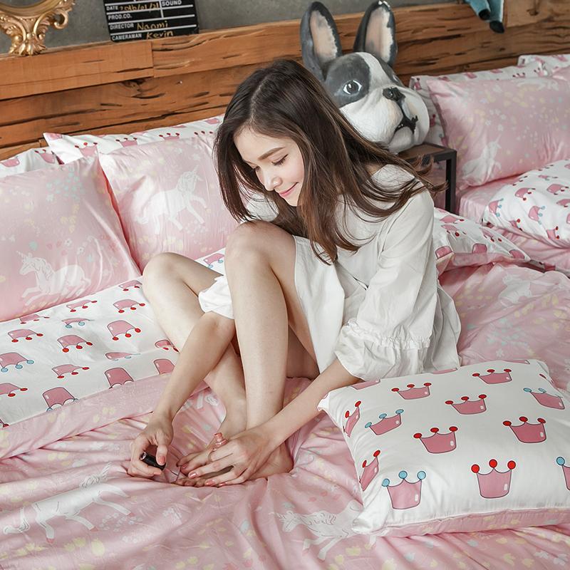 床包/單人【尋找夢奇地粉】100%精梳棉單人床包含一件枕套