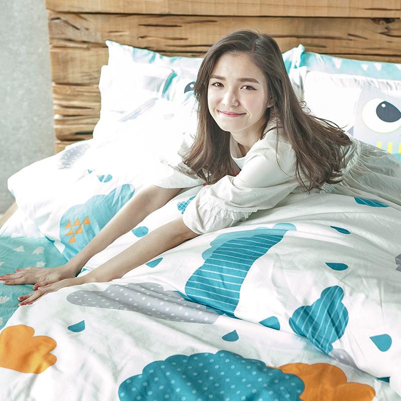 床包/單人【遇見朵朵藍】100%精梳棉單人床包含一件枕套