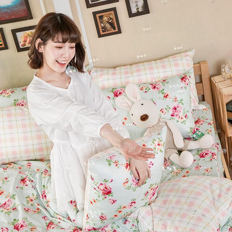 床包/單人【玫瑰粉格】100%精梳棉單人床包含一件枕套