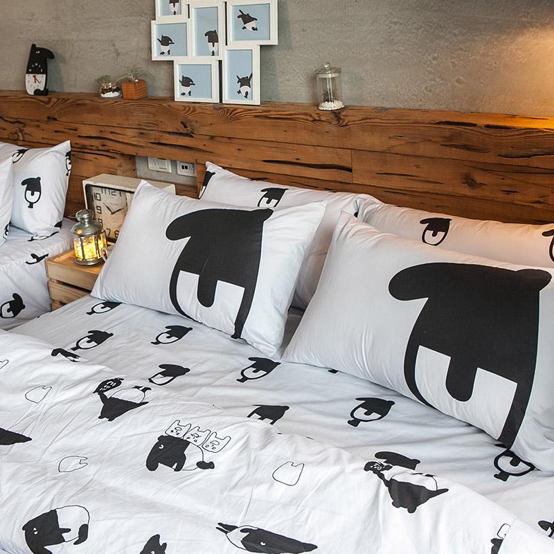 床包/單人【經典黑白款-馬來貘的日常】100%精梳棉單人床包含一件枕套