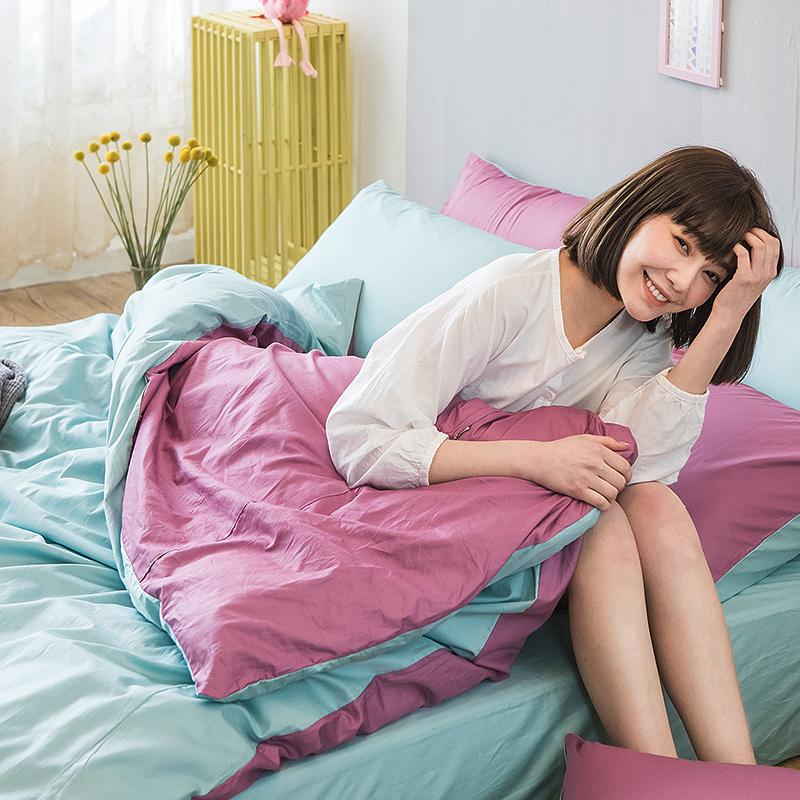 床包/單人【撞色系列-水水綠】100%精梳棉單人床包含一件枕套