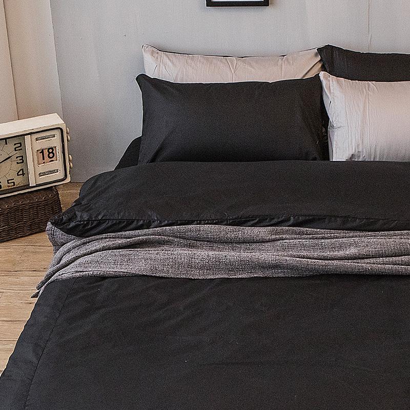 床包/單人【撞色系列-夜空黑】100%精梳棉單人床包含一件枕套