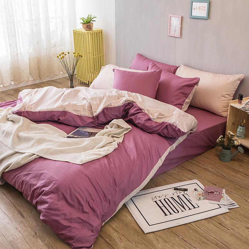 床包/單人【撞色系列-波波紫】100%精梳棉單人床包含一件枕套