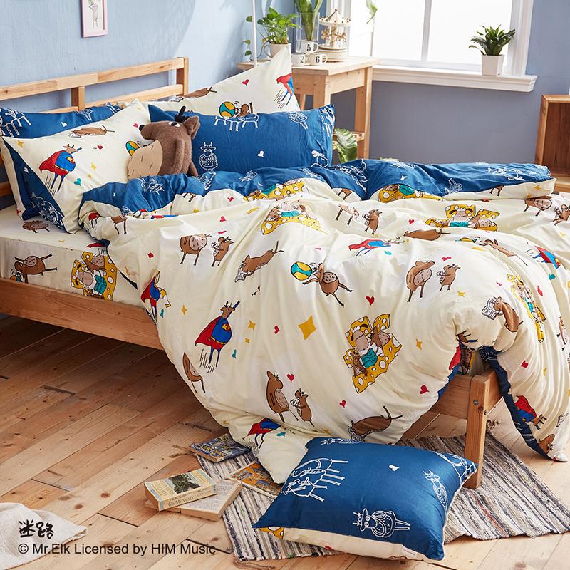 床包/單人【迷路的床邊故事-米】100%精梳棉單人床包含一件枕套