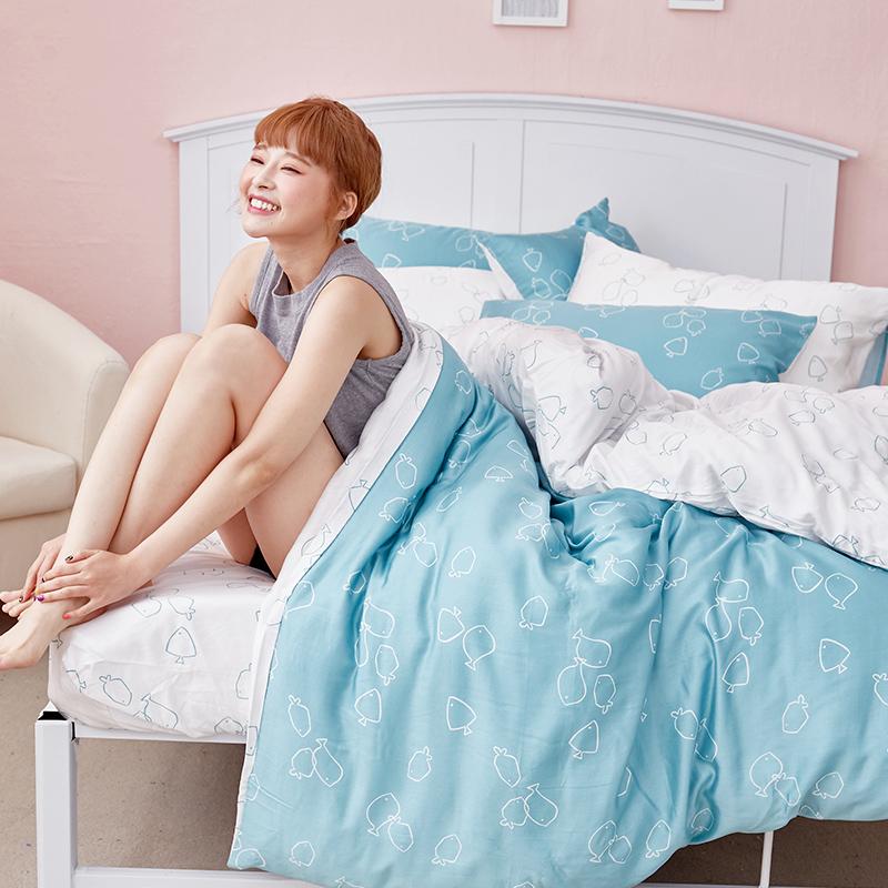 床包/單人【魚悠悠】40支天絲單人床包含一件枕套