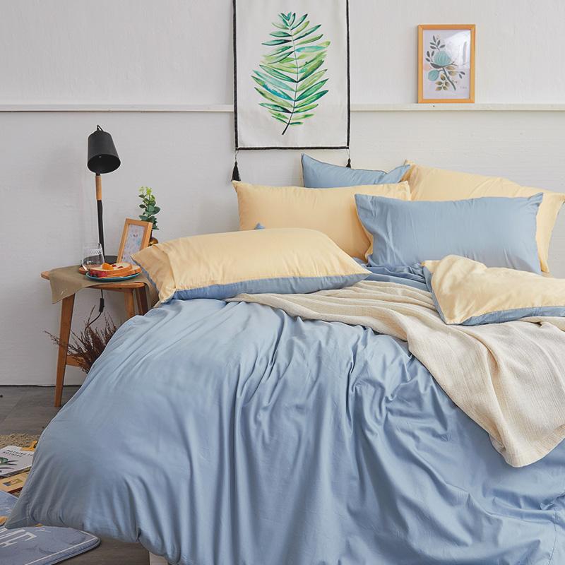 床包/單人【撞色系列-日出藍】100%精梳棉單人床包含一件枕套