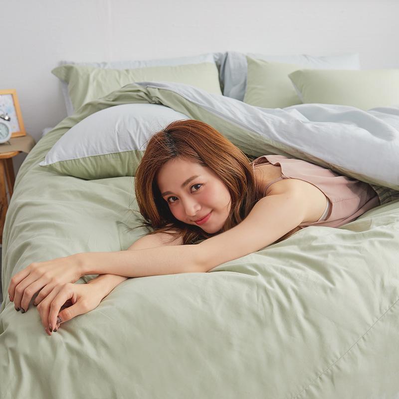床包/單人【撞色系列-清新綠】100%精梳棉單人床包含一件枕套