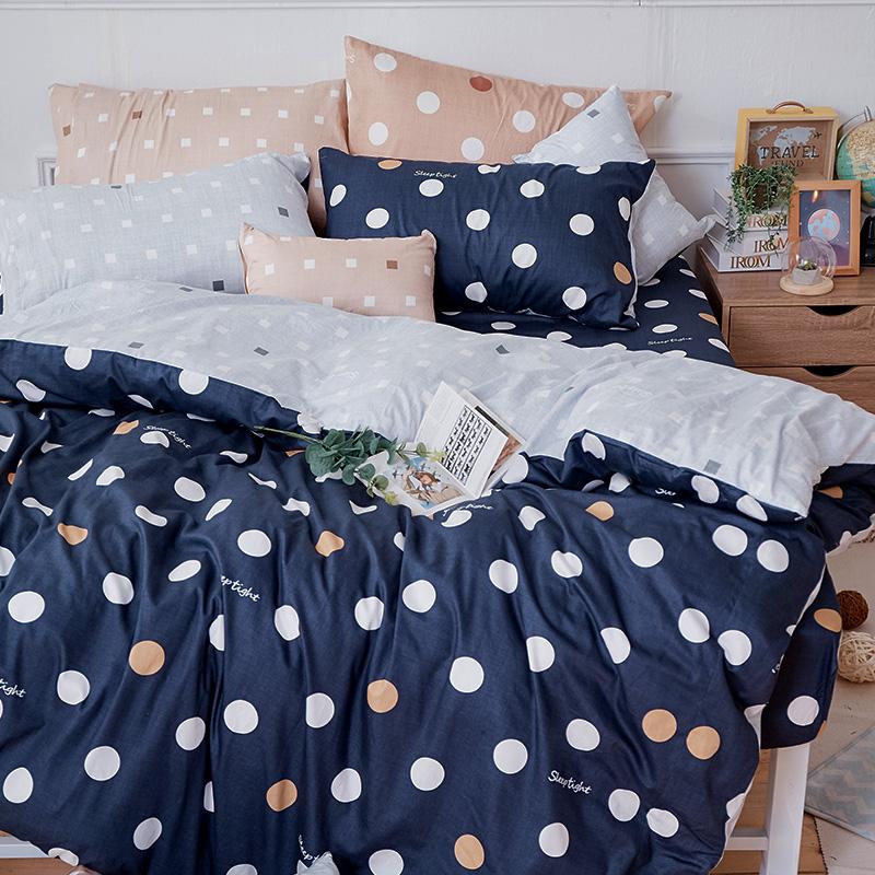 床包/單人【點點小宇宙冥王星藍】100%精梳棉單人床包含一件枕套