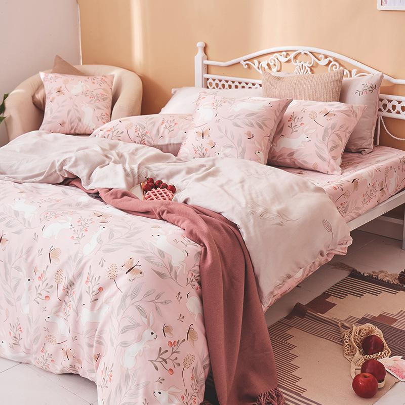 床包/單人【莓樂兔】60支天絲單人床包含一件枕套