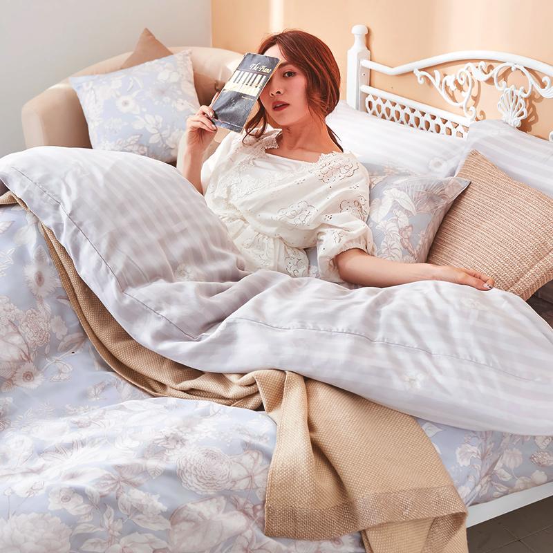 床包/單人【瓦勒莉】60支天絲單人床包含二件枕套