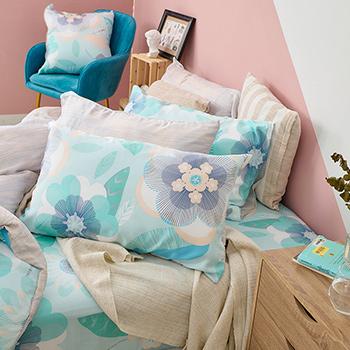 床包/單人【繁花語點】60支天絲單人床包含一件枕套