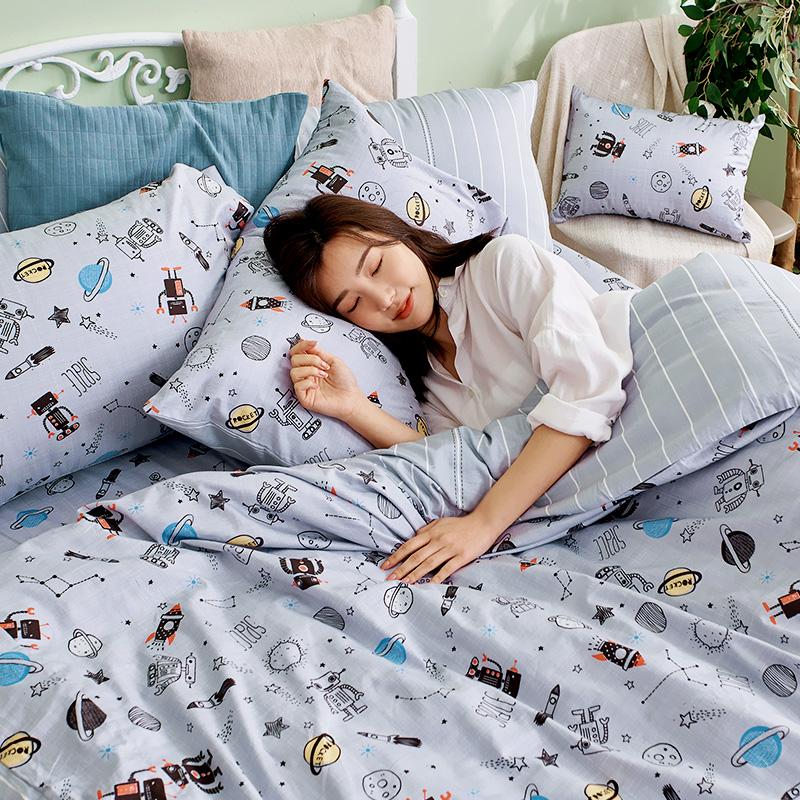 床包/單人【宇宙塗鴉計畫-引力灰】100%精梳棉單人床包含一件枕套