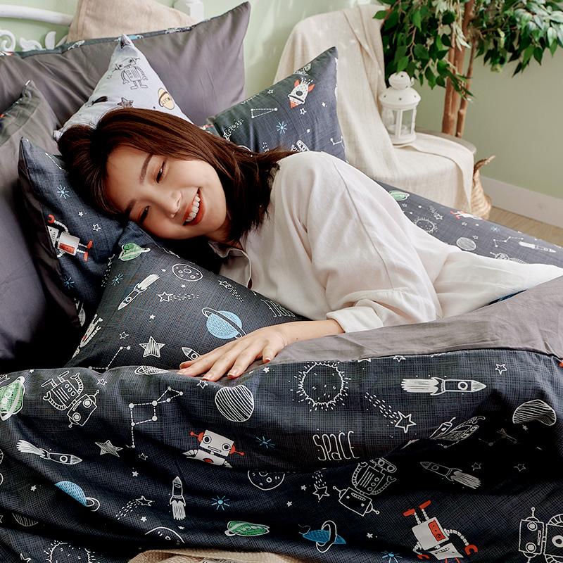 床包/單人【宇宙塗鴉計畫-真空黑】100%精梳棉單人床包含一件枕套