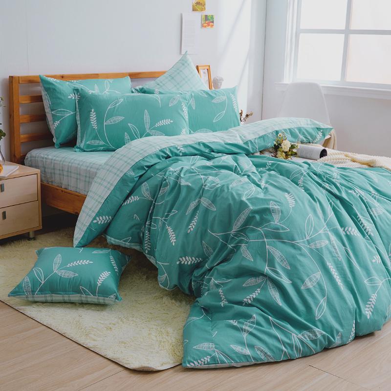 床包/單人【小葉曲】100%精梳棉單人床包含一件枕套