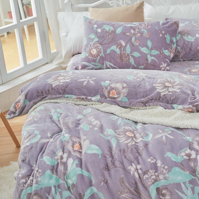 保暖法蘭絨【艾雪莉】單人鋪棉床包被毯組