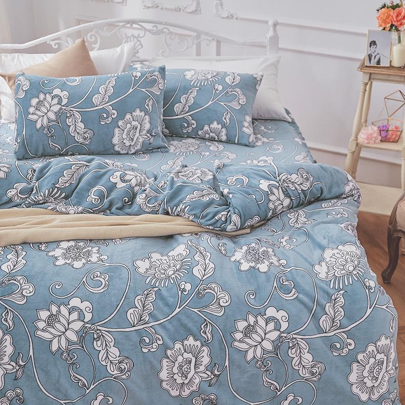 保暖法蘭絨【芬妮雅】單人鋪棉床包被毯組