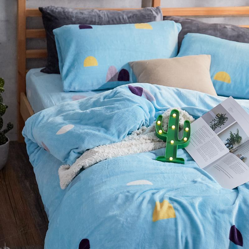 保暖法蘭絨【卡爾點點】單人鋪棉床包被毯組