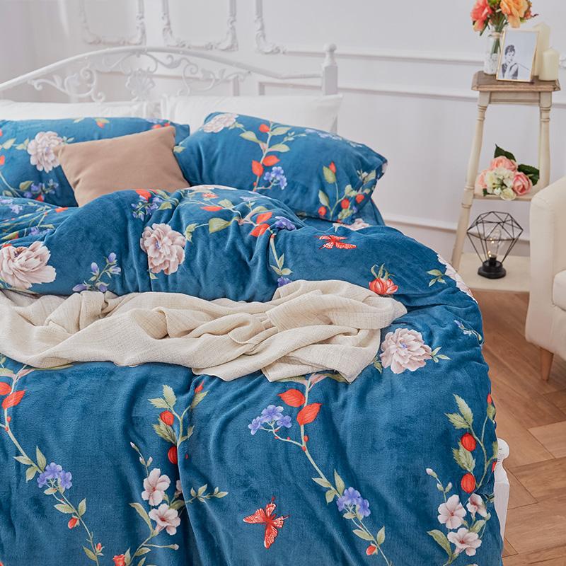 保暖法蘭絨【蔚藍花吟】單人鋪棉床包被毯組