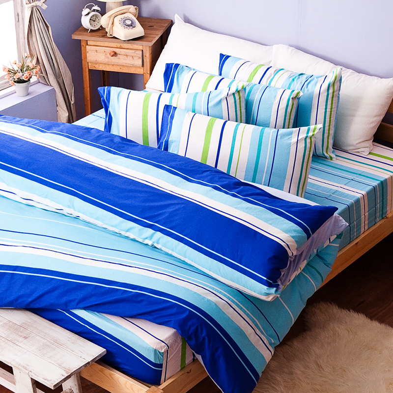 床包/雙人【繽紛特調藍】100%純棉雙人床包含兩件枕套