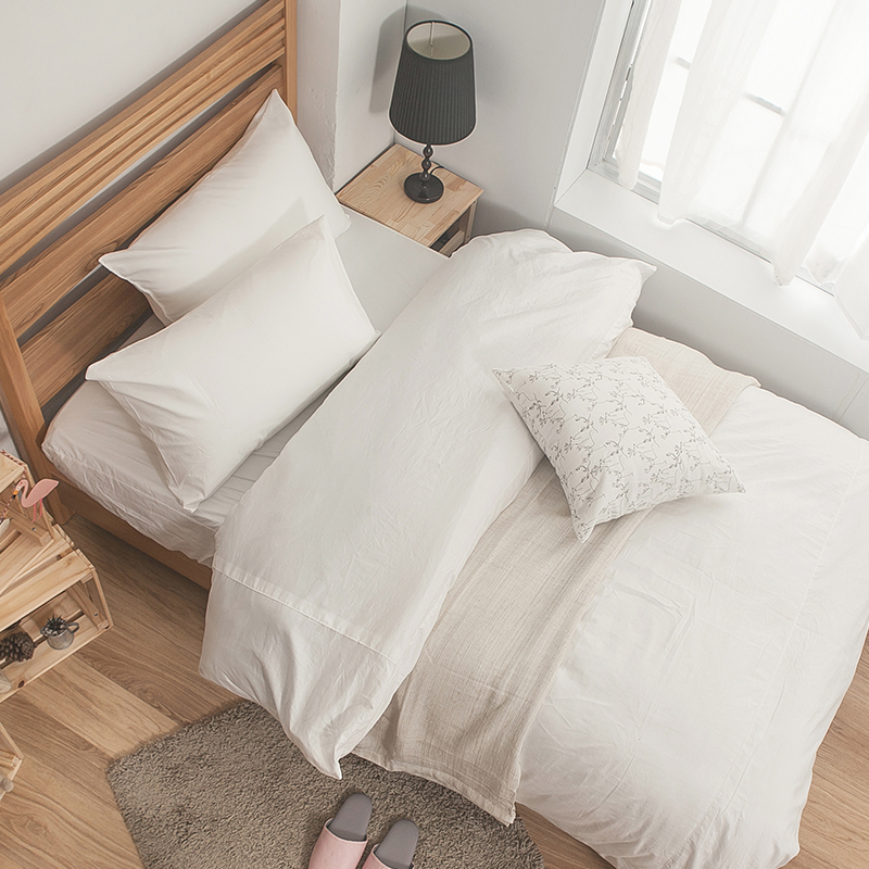 床包/雙人【簡單生活系列-白】100%精梳棉雙人床包含兩件枕套