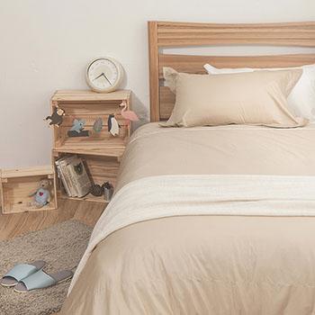床包/雙人【簡單生活系列-米】100%精梳棉雙人床包含兩件枕套