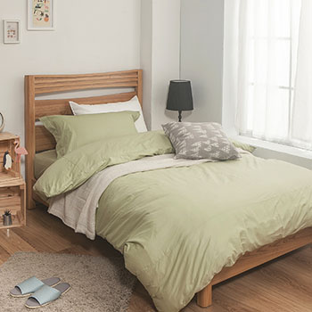 床包/雙人【簡單生活系列-果綠】100%精梳棉雙人床包含兩件枕套
