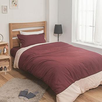 床包/雙人【簡單生活系列-棗粉】100%精梳棉雙人床包含兩件枕套