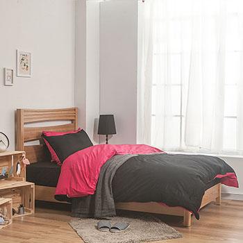 床包/雙人【簡單生活系列-黑桃】100%精梳棉雙人床包含兩件枕套