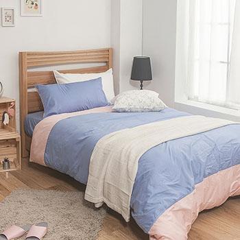 床包/雙人【簡單生活系列-藍粉】100%精梳棉雙人床包含兩件枕套