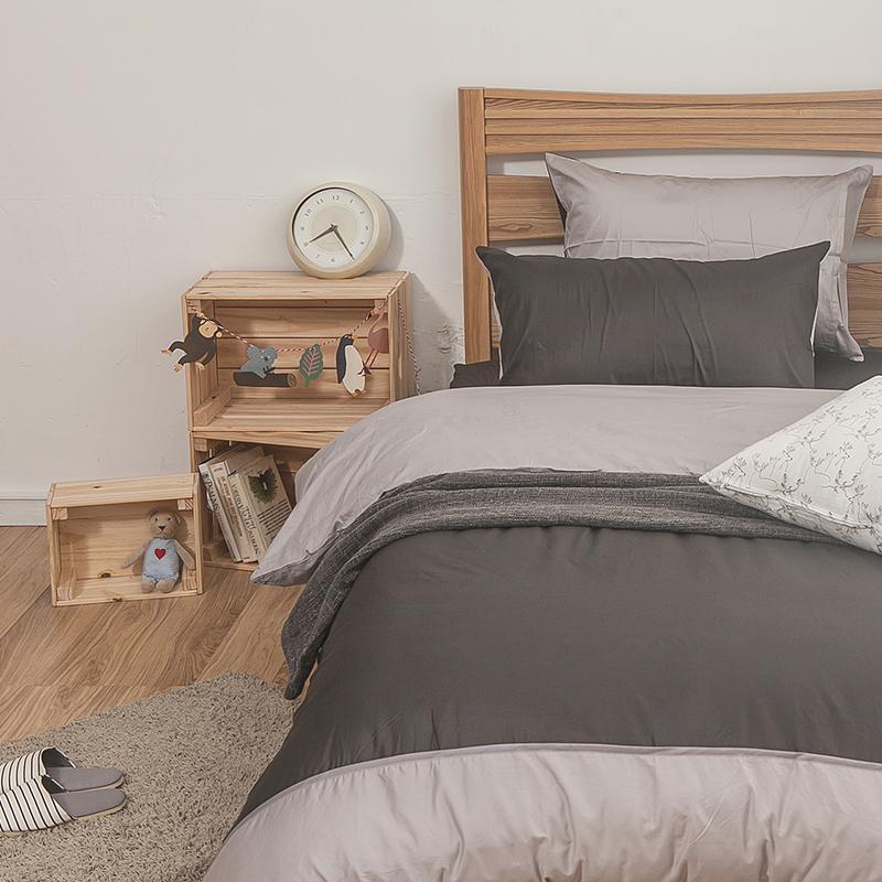 床包/雙人【簡單生活系列-雙灰】100%精梳棉雙人床包含兩件枕套